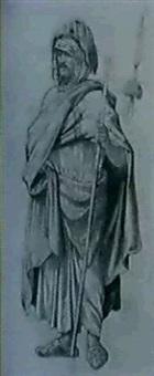 dame turque [&] deux guerriers de l'empire ottoman [med: crayon gras, w/ gouache sur papier gris] by michel acezat